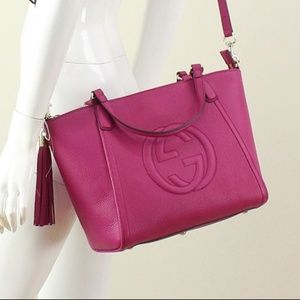 Gucci Fuchsia Pink Leather Soho Handbag 369176